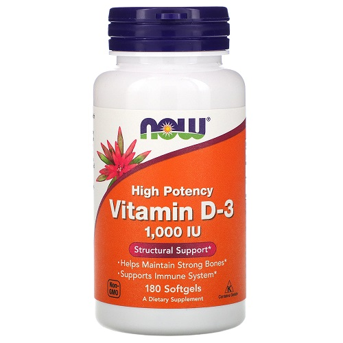 NOW Vitamin D3 1000UI, 180 softgel