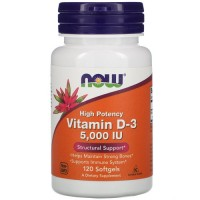 NOW Vitamin D3 5000 UI, 120 softgel
