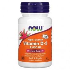 NOW Vitamin D3 2000UI, 240 softgel