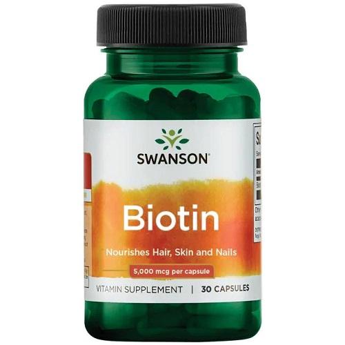 Swanson Biotin 5000mcg, 30 caps