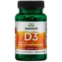 Swanson Vitamin D3 5000, 250 softgel