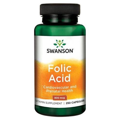 Swanson Folic Acid 800mcg, 250 caps