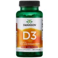 Swanson Vitamin D3 High Potency 1000IU, 250 капс.