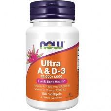 NOW Ultra Vitamin A & D 25.000/1.000 IU, 100 caps